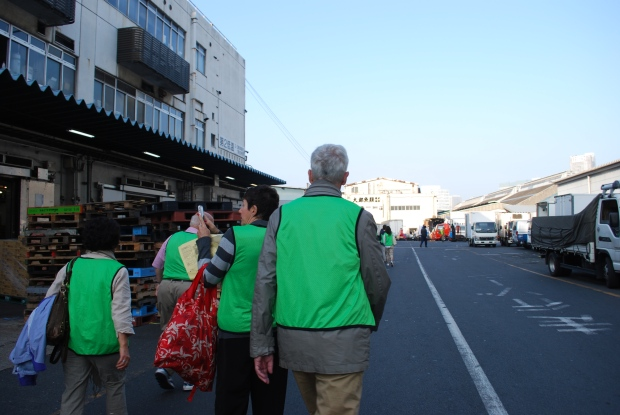 walking to Tsukiji tuna auction